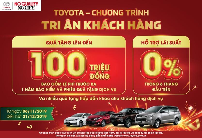 Chương trình khuyến mãi cực lớn dịp cuối năm cho khách hàng mua xe Toyota